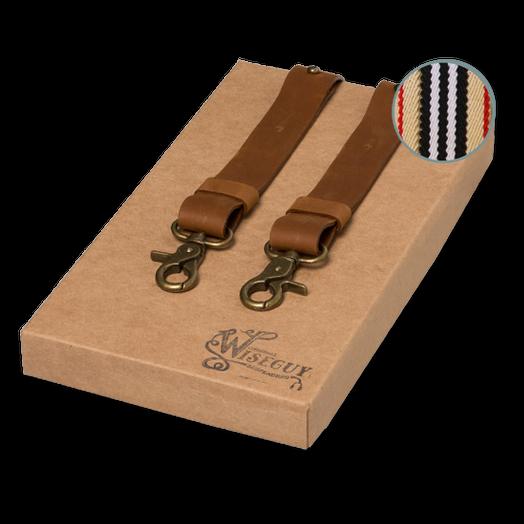 Blaue Streifen Design mit 3 Clips Hochwertige Hosenträger in Trendigen Beige